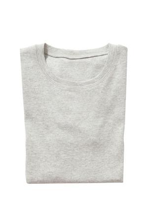 Folded gray t-shirt isolated on white