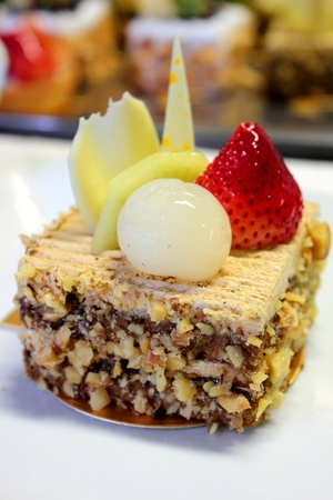 coffee cake on top with fresh fruit photo