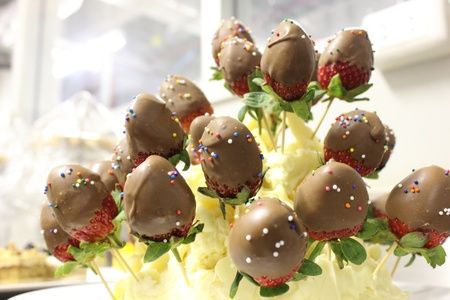Strawberries dipped in chocolate photo