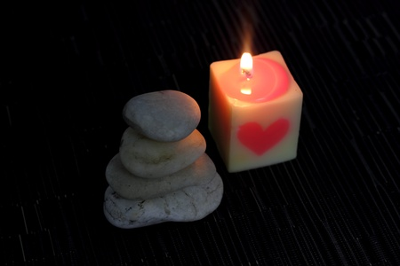 Heart-shaped candles photo