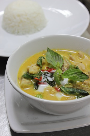 The Green Curry Chicken with jasmin rice photo