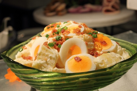 potato and Boiled egg salad Crispy bacon photo