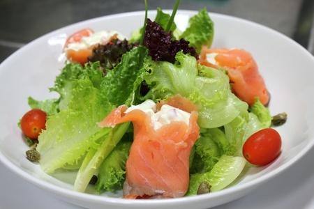 italian menu salad Smoked salmon with vegetable Stock Photo - 13402838