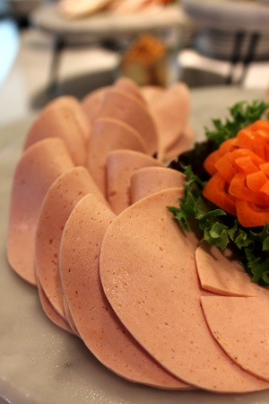 A slice bologna for appetizer italian food Stock Photo