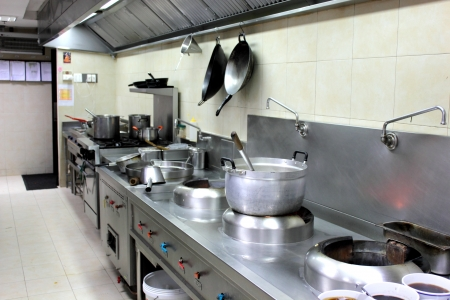 stainless steel kitchen: the professiona interiorl equipment kitchen in hotel  Stock Photo