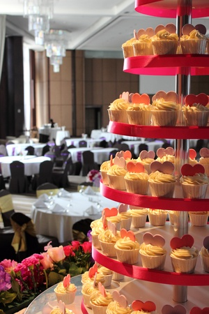 The wedding cup cake on a table photo