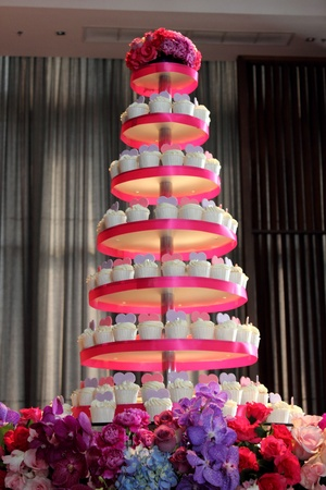 The wedding cup cake on a table
