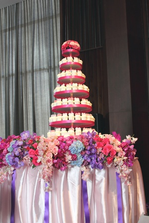 dessert stand: The wedding cup cake on a table