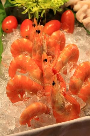 the Boiled shrimp on ice in restaurant Stock Photo - 13562538
