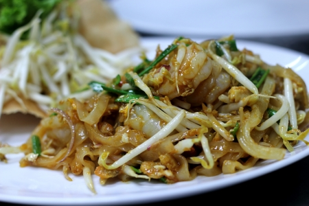 Thailands national dishes, stir-fried rice noodles (Pad Thai) Stock Photo