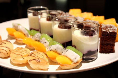 the assorted miniature decorative desserts