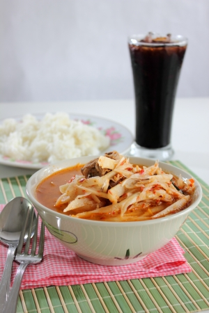 curry Soft bamboo shoots and Ice black coffee photo