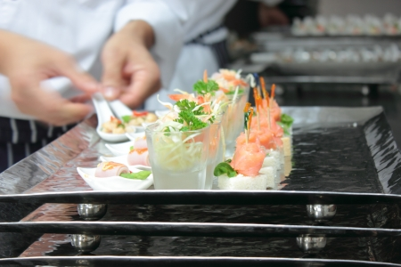 chef array working of snack food for service Stock Photo