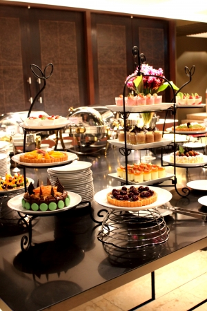 catering service: Different kinds of cakes Stock Photo