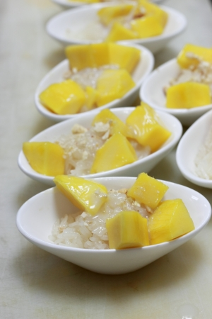 Mango sticky rice topped with coconut milk photo