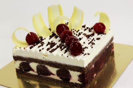 blake and white: Blake Forest cake on a white background Stock Photo