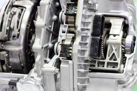 shiny car: Closeup of a new and shiny car engine.