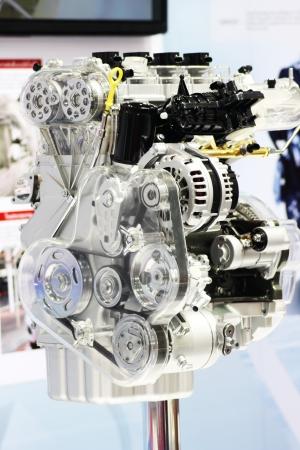 shiny car: Closeup of a new and shiny car engine