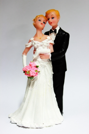 Close up on a pair of wedding doll photo