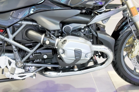 The Detail of a chrome motorcycle engine