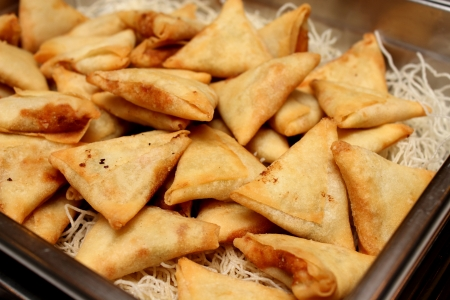 The indian samosas on an ndian style Stock Photo