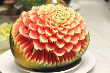 A Closeup the art of watermelon carving fruit photo
