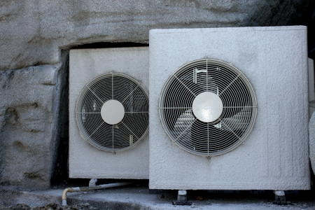 A two Circle of compressor air condition Stock Photo