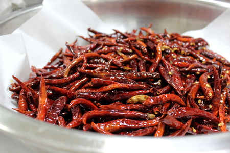 Dried red chilli peppers at the largest spice market  photo