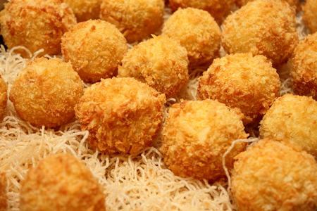 fried Mashed Potato Balls coated with bread crumbs photo