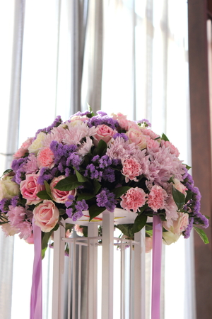 A bouquet of colorful real flowers decoration  photo