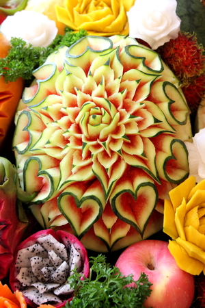 A Closeup the art of watermelon carving fruit.
