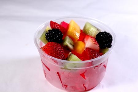 gelatine: Jelly gelatine dessert dish served with sliced