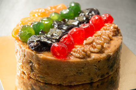 Fruits cake with mix  nut and dried fruit. photo