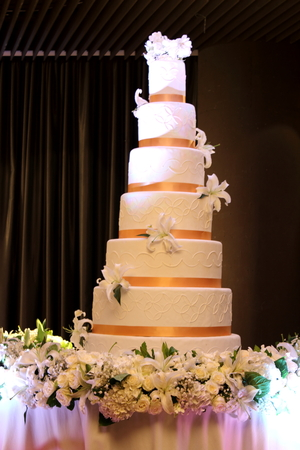 multilayer: A view with an all white multi-layer wedding cake with  banquet tables