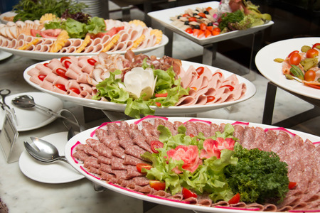 cold cut: Plate of Cold cuts with sausage and  ham
