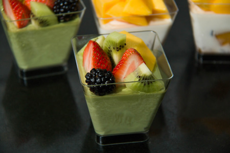 Matcha Panna Cotta with mixedfruit in cup