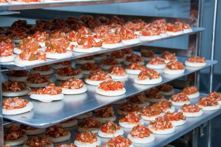 mini pizza: Shot of mini pizza bagels on try