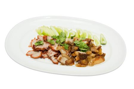 crackling: Close up of Roast Loin of Pork with Crispy Crackling.