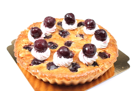 isoleted: Delicious homemade cherry pie with  isoleted on white.