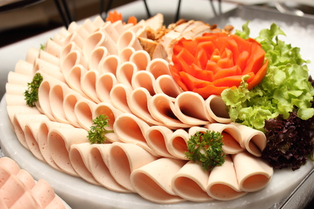 cold cut: A Platter of assorted cold cut slices. Stock Photo