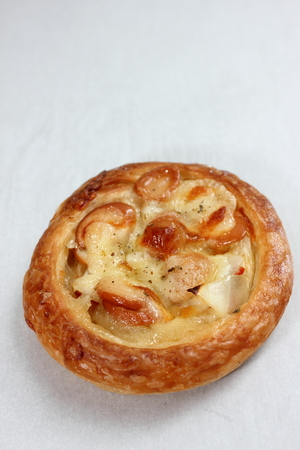 mini pizza: Homemade Mini pizza with  sausage and mozzarella cheese.