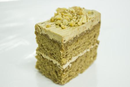 nutty: A mini spoug coffee with nutty cake. Stock Photo