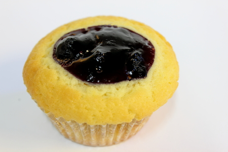 blueberry muffin: Blueberry muffin on white background filling ontop Stock Photo