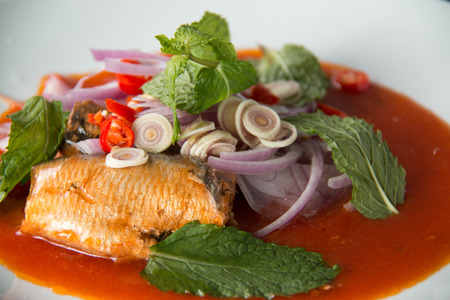 fish sauce: Sour & spicy canned fish salad, food in Thailand. Stock Photo