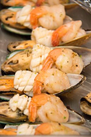 international food: Grilled Seafood with roasted  dish. International food