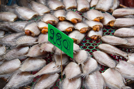 pectoralis: Trichogaster pectoralis, Dried fishes ready for fry, Thailand market