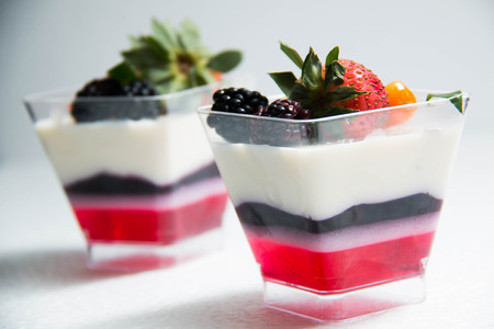 three layer: Three layer samples Panna cotta fruit on top Stock Photo