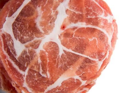 scald: Pork Slide raw meat for boil or scald for cooking Stock Photo