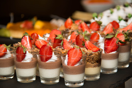 summer pudding: A mousse in small glass selective focus Stock Photo