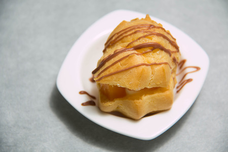puffs: Sweet Fresh Mini Cream Puffs, Profiterole, Choux,Eclair Stock Photo